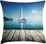 Nautical Throw Pillow Cushion Cover, Yacht from Wooden Deck Horizon Serenity Seascape Leisure tic...