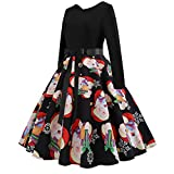 KEERADS Christmas Women's Evening Party Dress Printing Vintage Gown Long Sleeve O Neck (Black, UK...