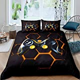 Gamer Duvet Cover Set Boys Teens Video Game Gaming Bedding Set Kids Toddler Geometric Honeycomb...