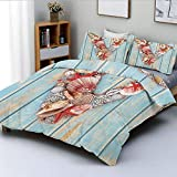 Totun Duvet Cover Set,Nautical ABC with Beach Inspired Coastal Oceanic Marine Elements...