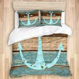 993 CCOVN bedding Duvet Cover Set,Timeworn Marine Symbol on Weathered Wooden Planks Rustic Nautical...