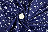 Pyrhan Nautical Anchor Patterned Polycotton Prints –Similar to 100% Cotton Fabric by Metre -45...