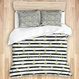 Ttrsudddsyy Duvet Cover Sets Bed Sheets,Anchor Horizontal Stripes Nautical Symbo,3 Piece Bedding Set...