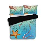 Black Duvet Cover Set ,Pearls Decoration,Under The Sea Theme Decor Pearls Shell Starfish Fish...