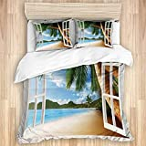 XMTMR-Glass Duvet Cover Sets Bed Sheets,Beach Nautical Sand Landscape Print,3 Piece Bedding Set with...