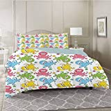 YUAZHOQI Bedding Duvet Cover 3 Piece Set, Cheerful Chipper Animals in The Ocean with Starfishes...