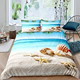 Hawaii Beach Theme Duvet Cover Set Kids Boys Girls Ocean Wave Nautical Comforter Cover Starfish...