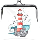 Watercolor Nautical Elements Lighthouse Cute Coin Purse Retro Money Pouch Small Wallet Card Change...