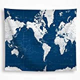 VAKADO World Map Tapestry Wall Hanging Navy Blue White Painting Geography Ocean Nautical Decoration...