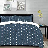 bedding - Duvet Cover Set, Lighthouse,Nautical Pattern with Life Buoys and Marine Architecture...