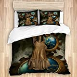 MEJX Bedding Sheet-Duvet Cover Set,Steam Punk beautiful female dressed in a gold Victorian gown...