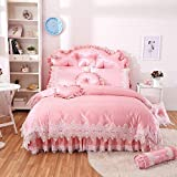 YIEBAI 4/6/8-Pieces Cotton Jacquard Luxury Bedding Set lace Bed Set Bed Linens Duvet Cover Bed...