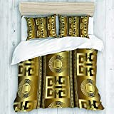 MEJX bedding-Duvet Cover Set,Abstract Geometric with Antique Gold 3D Vintage Greek Key Squares...