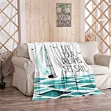 Kuidf Turquoise Throw Blanket Sailboat in The Sea Seagulls Made White Sport Yacht Nautical Flannel...