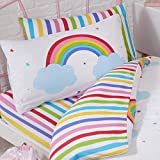 Price Right Home Rainbow Sky Junior Toddler Striped Fitted Sheet and Pillowcase Set