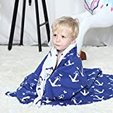 Brandream Baby Blanket Cotton Reversible Nautical Anchor Knitted Blanket Double Layer Breathable...