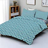 Duvet Cover Set,Nautical Inspired Color Palette Rhombus Arrow Shapes Africa Middle East Culture...