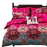 Vaulia Lightweight Microfiber Duvet Cover Set, Bohemia Exotic Patterns Design, Bright Pink - Double...