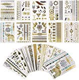 Tattoo Waterproof Metallic Temporary Tattoo 16sheets in Gold Silver Sticker Body Fake Jewelry...