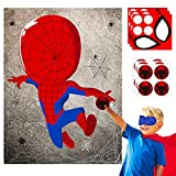 30pcs Spiderhero Kids Party Stickers Game, Pin The Eyes Chest Signs and Spiderweb On Large...