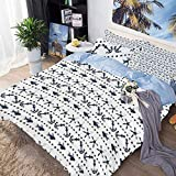 Bedding Sheets Set 3 Piece Duvet Cover Set Bed Set,Navy Yatch Themed Design with Fish Starfish and...