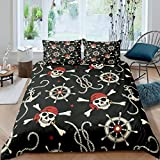 Loussiesd Skull Comforter Cover Boys Nautical Pirate Bedding Set Ocean Themed Duvet Cover for...