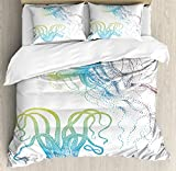 Ambesonne Octopus Duvet Cover Set, Octopus and Jellyfish Illustration Nautical Themed Art Underwater...