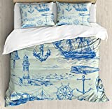 Nautical Anchor Duvet Cover Set by Ambesonne, Whale Sail Boat Steering Wheel and Old Lighthouse...