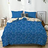 QINCO Duvet Cover Set Aquatic Summer Nautical Theme Outline Simplistic Pattern of Various Seashells...