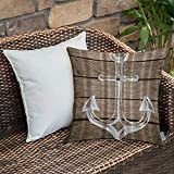 Bedding Soft Decorative Square Pillowcases Anchor Nautical Hand Drawing Boating Sketch Taupe Rustic...