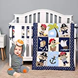 Brandream Baby Crib Bedding Sets for Boys Nautical Anchor Palm Dog Pirate Theme - Baby Quilt, Fitted...