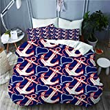 993 LICUNI Duvet cover with Pillowcase Quilt Bedding set,Nautical Anchor Pattern,Double Size