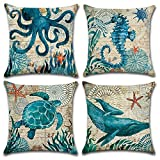 Freeas Ocean Park Cotton Linen Theme Decorative Throw Pillow Cover Case 18' x 18' Sea Decor...