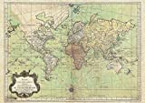 Bellin World Map - Nautical Chart 1778 repro vintage poster A1 - 59.4 x 84.1 cm
