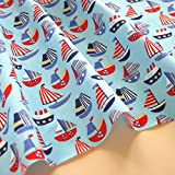 Sailing Boats Fabric Children's Polycotton Blue White Navy Craft Kids Nursery Nautical