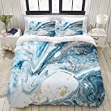 YOLIKA Bedding-Duvet Cover Set,white,Abstract Blue Swirls Marble Ripples Ocean Natural Gold Teal...