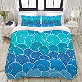 WINCAN Printed Duvet Cover King Nautical Seamless Pattern Waves Background Cartoon Soft Brushed...