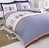 Beach Huts King Bed Size Gingham Check Blue Red White Duvet Cover Quilt Hallways ®