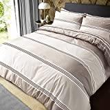 Sleepdown Banded Stripe Natural Reversible Soft Duvet Cover Quilt Bedding Set With Pillowcases -...