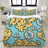 Duvet Cover Set, Seamless Pattern Old Nautical Map Islands, Colorful Decorative 3 Piece Bedding Set...