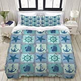 Duvet Cover,Ships Wheel Nautical Patchwork Pattern with Rope Starfish Sailing Ship Anchor and...