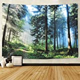 Krelymics Forest Wall Hanging Nature Art Polyester Fabric Tapestry Jungle Tapestry Landscape Fabric...