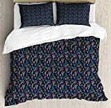LnimioAOX Nautical Duvet Cover Set, Marine Themed Underwater Foliage Colorful Coral Design...