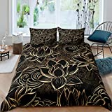 Loussiesd Luxury Black Gold Duvet Cover for Woman Bedroom Senior Gift Blossom Flowers Comforter...