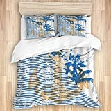 Ttrsudddsyy Duvet Cover Sets Bed Sheets,Abstract Ocean Wave Stripes Nautical Anc,3 Piece Bedding Set...