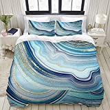 YOLIKA Bedding-Duvet Cover Set,white,abstract stone agate with blue and gold veins,Microfibre...