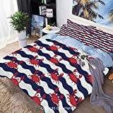 Bedding Sheets Set 3 Piece Duvet Cover Set Bed Set,Nautical Theme Cute Crabs on The Striped...