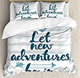 MEHOM Adventure Duvet Cover Set Full Size, Nautical Stripes Anchor and Arrow Motivational Text Sea...