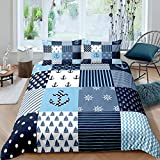 Loussiesd Nautical Comforter Cover Set Navigation Theme Patchwork Bedding Set Anchor Compass Sailing...