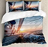 Ambesonne Nautical Duvet Cover Set, Sail Boat in The Sea Waves Toward Sunset Marine Adventure Hobby...